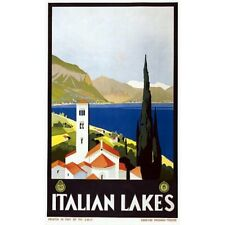 Italian Lakes Travel Advertisement Vintage-Style Poster
