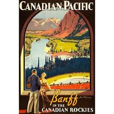 Canadian Pacific Banff Canadian Rockies Travel Ad Vintage-Style Poster