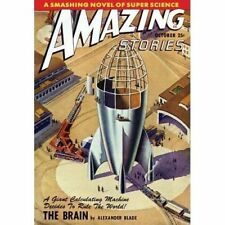 Vintage-Style Sci Fi Poster Amazing Stories Super Science Rocket Cover Art