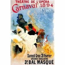 Jules Cheret Vintage-Style French Ad Poster Carnaval 1894 Theatre de l'opera