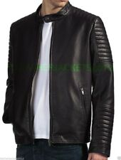 Mens Leather Jacket Genuine Leather OR Faux PU Biker Style 045BUR