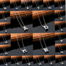 New Alloy Rhinestone Crystal Initial Alphabet Letter Pendant Chain Necklace Xmas