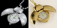 14K Gold Plated /Silver Beetle Ladybug Womens Necklace Pendant Watches Quartz