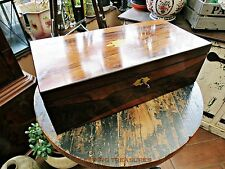 VICTORIAN ROSEWOOD WRITING SLOPE, LOCK & KEY AND HIDDEN DRAW