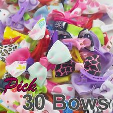 "Lot 30 Boutique 2"" toddler Girl Hair Clips Barrettes BOWs GROSGRAIN RIBBON BOW"