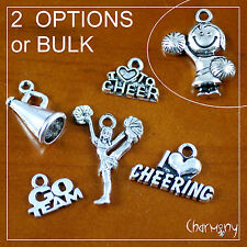 Cheerleader charms ~MIX/BULK~ cheer cheerleading pom heart team megaphone silver