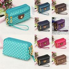 Women Clutch Bag Coin Case Handbag Wallet Purse Phone Pocket Polka Dots Zipper