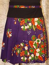 Wrap Around Pleated Cotton Bright Batik Floral Pattern Skirts