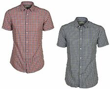 MENS JACK & JONES SLIM FIT CHECK SHIRT SHORT SLEEVE IN RED & BLUE COLOURS S - XL