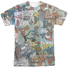 ROCKY & BULLWINKLE COLLAGE Licensed Front Print Men's Tee Shirt SM-3XL
