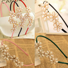Women Girls Flower Pearl Hair Band Headband Hairband Hair Accessories Alice Band