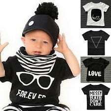 Kids Baby T Shirt Tops Short Sleeve Crew Neck Casual Tee Toddler Infant Cloth LS