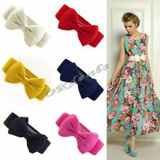 Fashion Women Lady Bowknot Elastic Bow Wide Buckle Waistband Stretchy Waist Belt