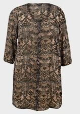 MULTI BROWN PRINTED LADIES SHEER SHIFFON TUNIC BLOUSE TOP SZE UK 12-30 NEW