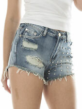New Womens Studded Distressed Ripped Denim Grunge Hot Short Shorts 6 8 10 12 14