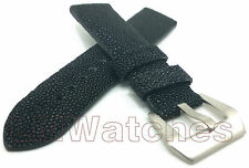 Genuine Stingray Leather Watch Strap Black Handmade XL 20/22/24mm New UK