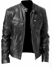Mens Black and Brown Real Leather Stylish Jacket Vintage Slim Fit Retro Genuine