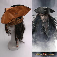 Pirates of the Caribbean Jack Sparrow Tri Corner Buccaneer Cosplay Hat Wig Set