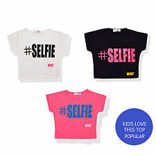 New Girls Kids Selfie Slogan Print Crop Top Age 7 8 9 10 11 12 13 Years