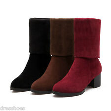 Women's Block Heel Pointed Shoes Zip Suede Fabric Knit Mid Calf Boots AU Sz O049
