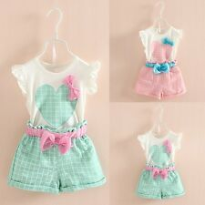 2PCS Toddler Kids Baby Girls Summer T-shirt Tops+Plaid Shorts Outfit Clothes Set