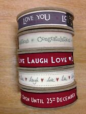 East of India fabric ribbon 3m spools Christmas Congratulations Love You