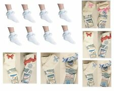 3,6,12 Pairs GIRLS COTTON SCHOOL COLOUR LACE SOCKS FRILLY LACE ANKLE SOCKS