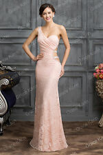 Sexy Pink Bridesmaid Formal Prom Long Dress Wedding Evening Party LACE Ball Gown