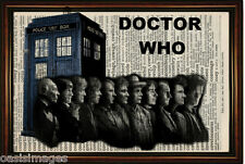 DICTIONARY PAGE ART PRINT - Tardis & Dr Who incarnations Antique Book paper