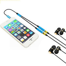 3.5mm 1 to 2 Headphone Y Splitter Dual Adapter Earphone Cable Jack 4 Colors