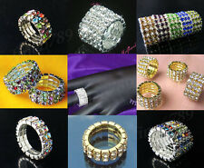 New Lots Fashion 1-5Rows More Colors Styles Stretchy Crystal Rhinestone Rings