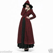 Punk Rave Red Gothic Jacket Hood Long Vampire Witch Victorian Coat Y554