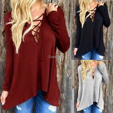 Shirt Tops T-shirt Blouse Women Irregular V-Neck Cotton Blend new nice GT56