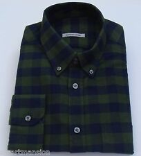 Ex M&S New Mens Cotton Soft Wash Oxford Green Check Long Sleeve Shirt Sz 15-16.5