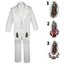 Baby Toddler Boy Christening Baptism Formal Tail White Tuxedo Suit Stole Sm-20