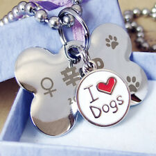 Mini Pet Dog Cat Puppy Name Tag Circle Tags ID Stainless Steel Cute Fun DIY 1Pcs