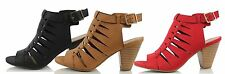 City Classified Lineup Faux Leather Open Toe Gladiator Cutout Cone Stacked Heels