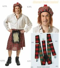 Scots Men Tartan Kilt & Hat Ginger Hair and Tartan Punk Brace Stag Night Costume