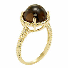14K Gold Cabochon Ring, Smokey Quartz, Prasiolite or Rose Quartz ~ Many Sizes
