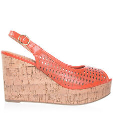 Womens Orange Peep-Toe Slingback Cork Wedge City Classified Rickie-S