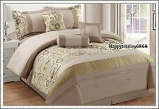 Latte Yellow Jacquard Pintuck 7pc* KING QUEEN Comforter Set + Valance 3 Cushion