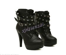 Womens Studded High Heels Platform Lace-up Ankle Boots Riding Shoes Buckle Punk