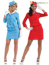 Ladies Cabin Crew Costume Adult Air Hostess Fancy Dress Womens Outfit UK 8 - 26