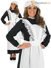 Ladies Victorian Maid Costume Adults Old Time Fancy Dress Florence Nightingale