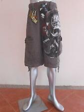 "Minute Mirth Tattoo Bonezilla Skull Shorts Cargo size 38-40"" Gray MMS84"