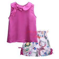 Baby Girl Hot Pink Top and Flower Bow Shorts Set Toddler Summer Clothing Outfits