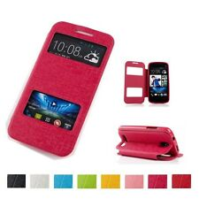 View Double Windows Flip Leather Luxury Slim Stand Case Cover For HTC ONE M9