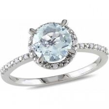 1-1/7 Carat T.G.W. Aquamarine and Diamond-Accent Sterling Silver Halo Ring. Bran
