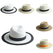 Summer Women Straw Hat Fedora Trilby Cap Panama Cap Wide Brim Beach Sunhat New