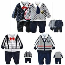 Baby Boy Wedding Christening Tuxedo Formal Party Romper Outfit Suit Clothes3-24M